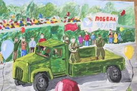 Бабенко Матвей, 14 лет.  «На параде». бум., гуашь.  преп. Шалагина Н.А.